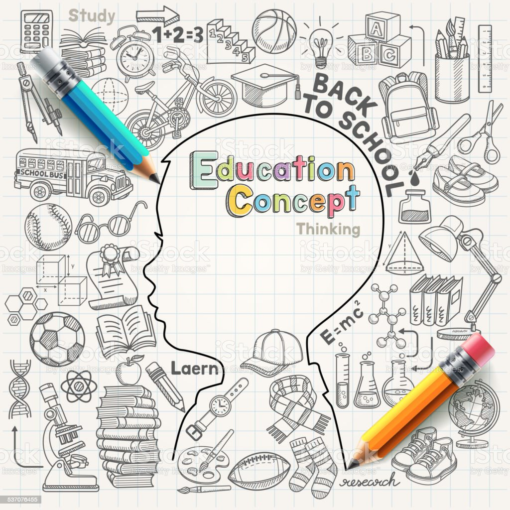 Education concept thinking doodles icons set. vector art illustration
