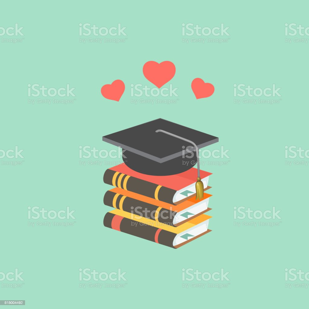 Education concept with mortarboard and books. vector art illustration