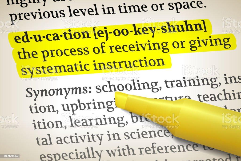 education dictionary definition royalty free vector illustration vector art illustration