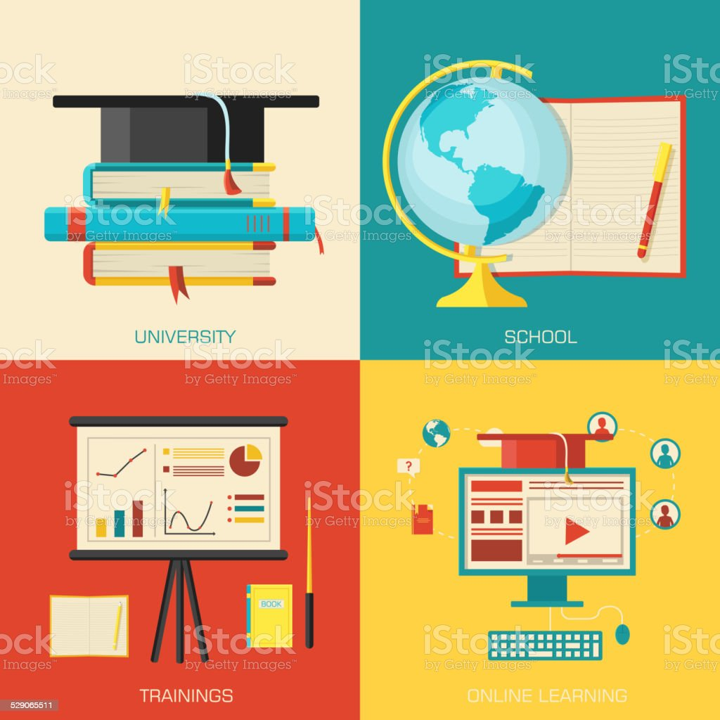 Education distance, online and academic school variations backgrounds vector art illustration