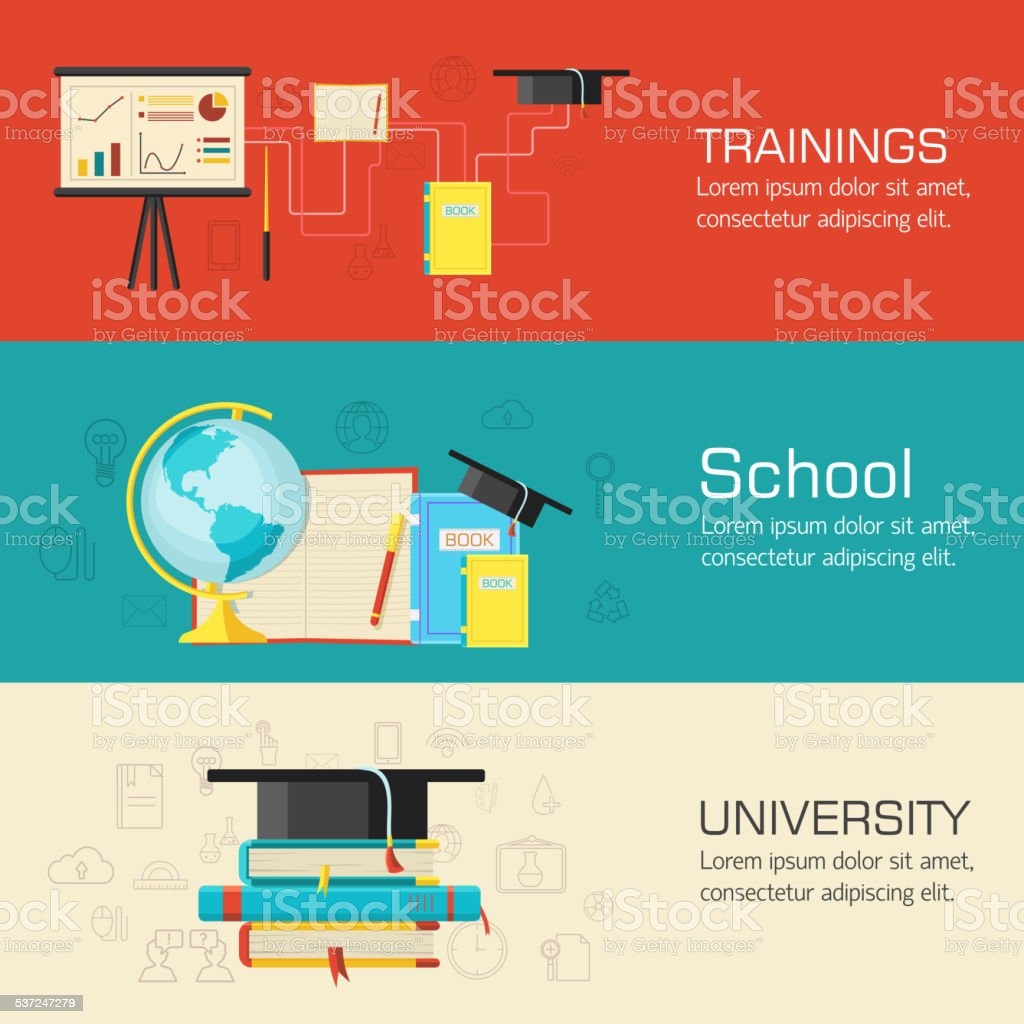 Education distance, online and academic school variations concep vector art illustration