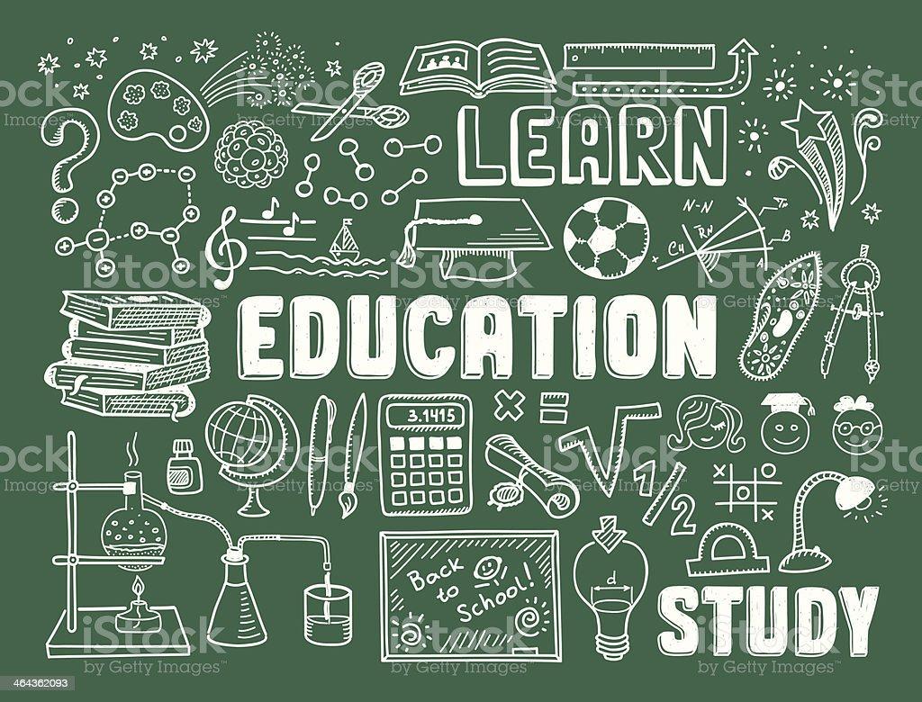 Education doodle elements royalty-free stock vector art