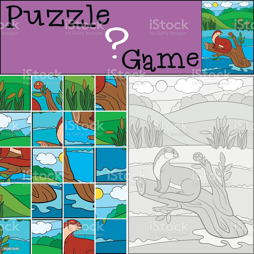 Education game: Puzzle. Little cute otter looks at the flower. vector art illustration