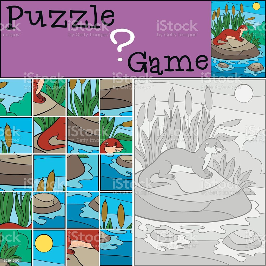 Education game: Puzzle. Little cute otter smiles. vector art illustration