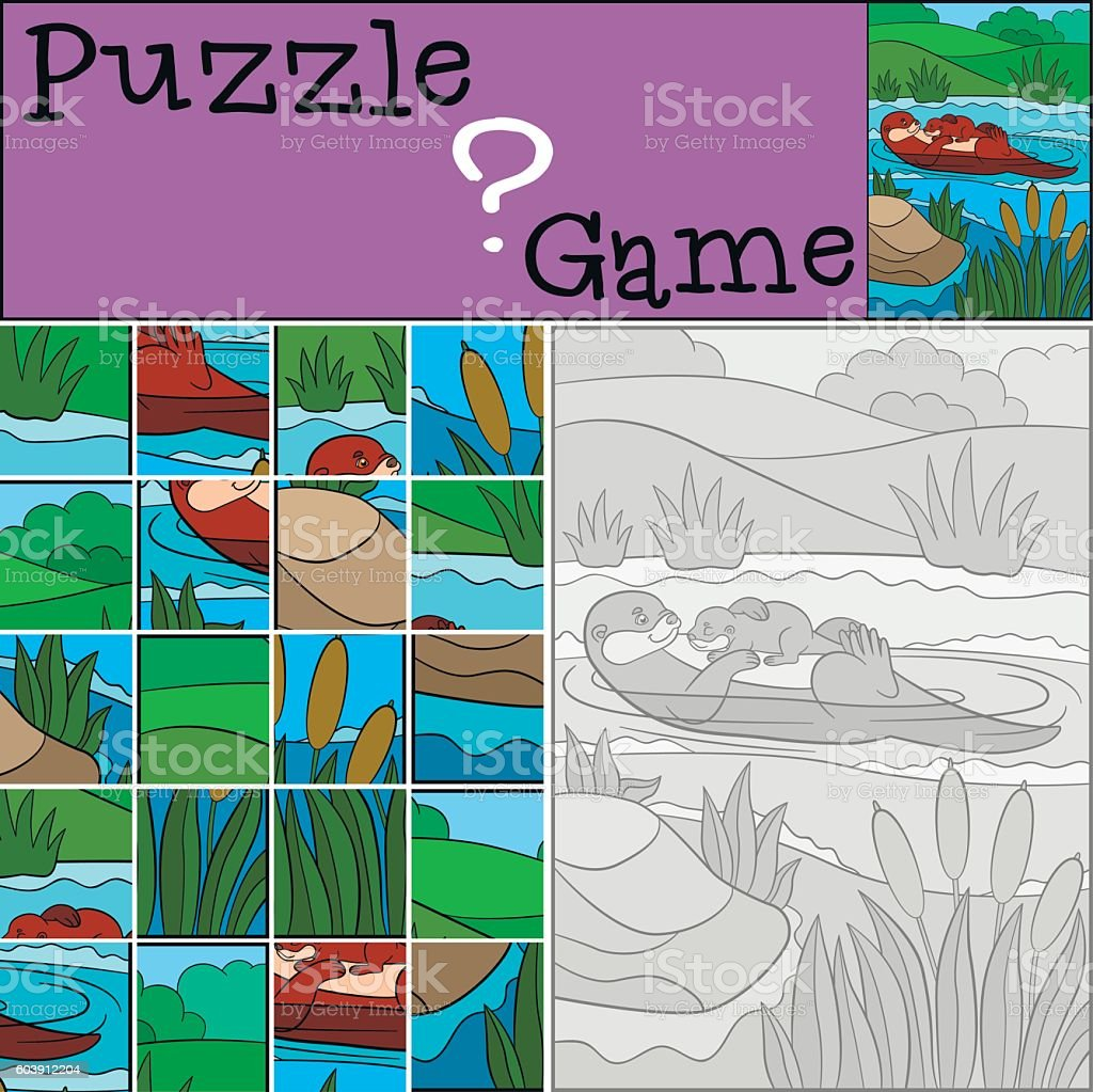 Education game: Puzzle. Mother otter swims with baby. vector art illustration