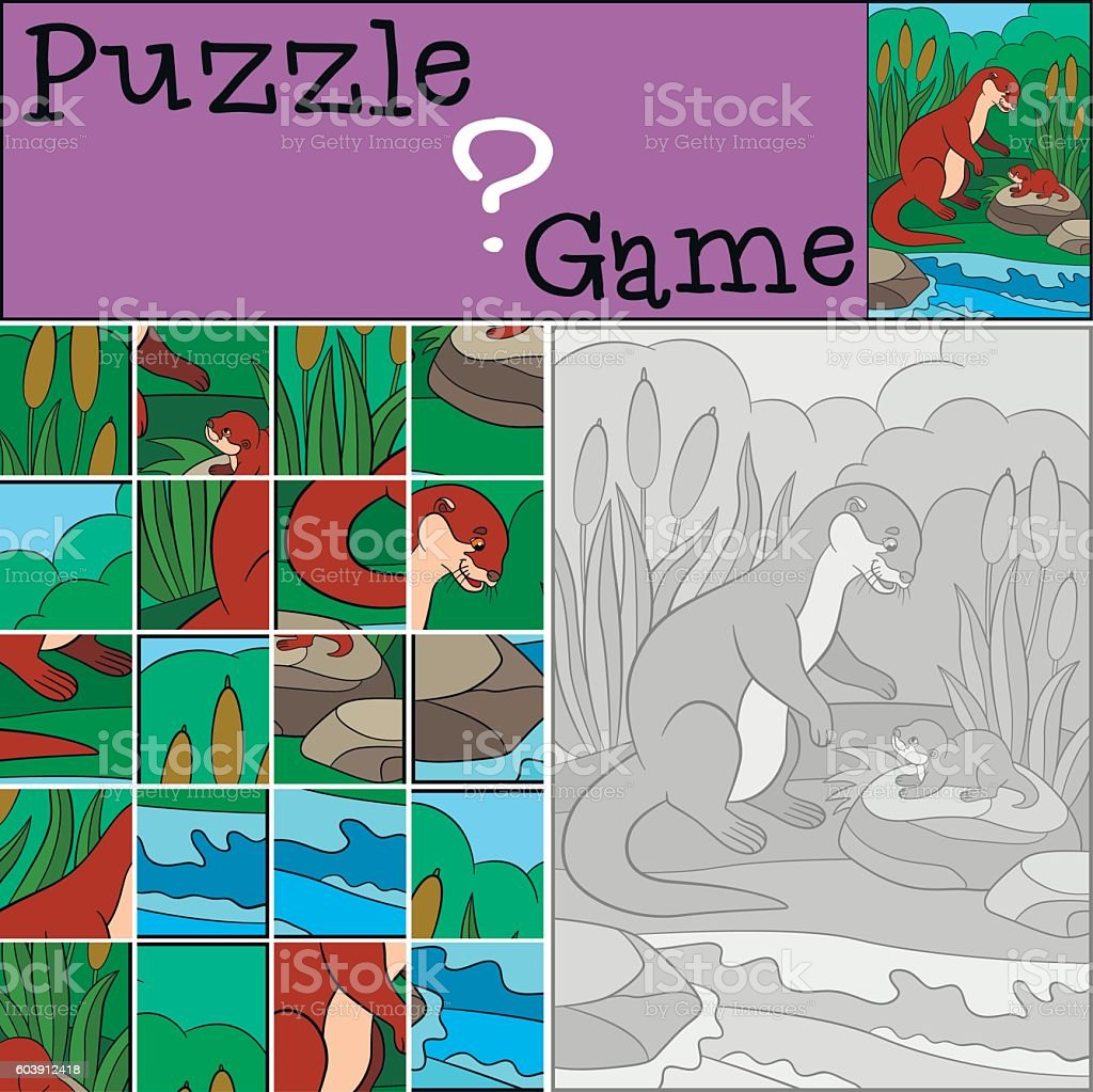 Education game: Puzzle. Mother otter with her baby. vector art illustration