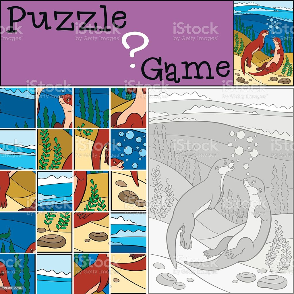 Education game: Puzzle. Two little cute otters swim. vector art illustration
