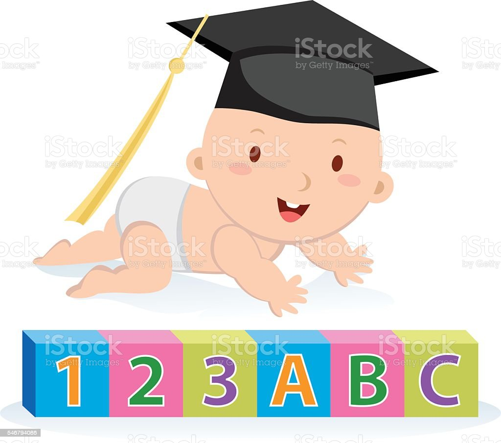Education graduation baby boy vector art illustration