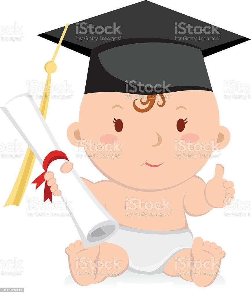 Education graduation baby girl. Baby graduation. vector art illustration