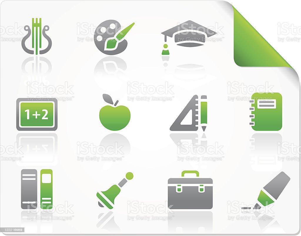 Education green icons royalty-free stock vector art