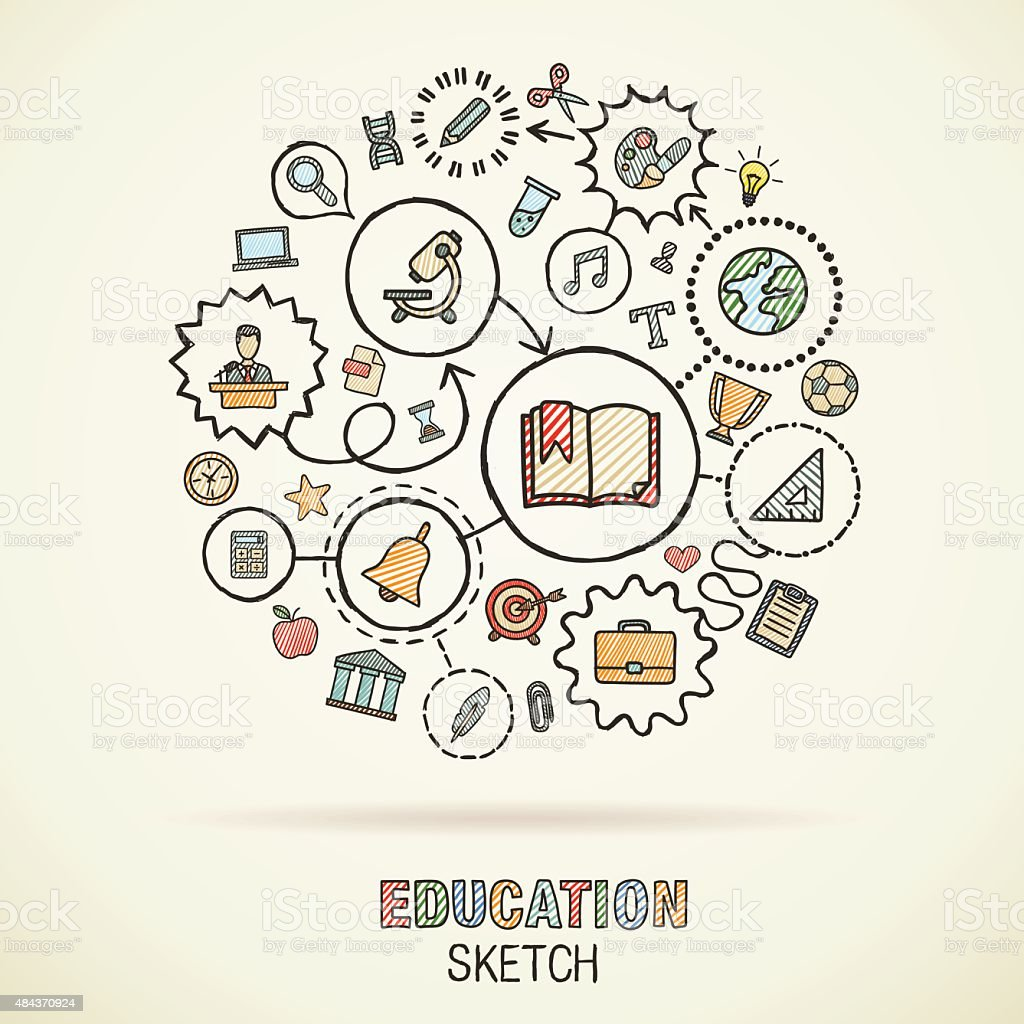 Education hand draw connected sketch icons. Vector doodle infographic illustration vector art illustration