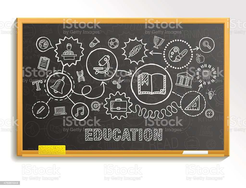 Education hand draw integrated icons set on school board. vector art illustration