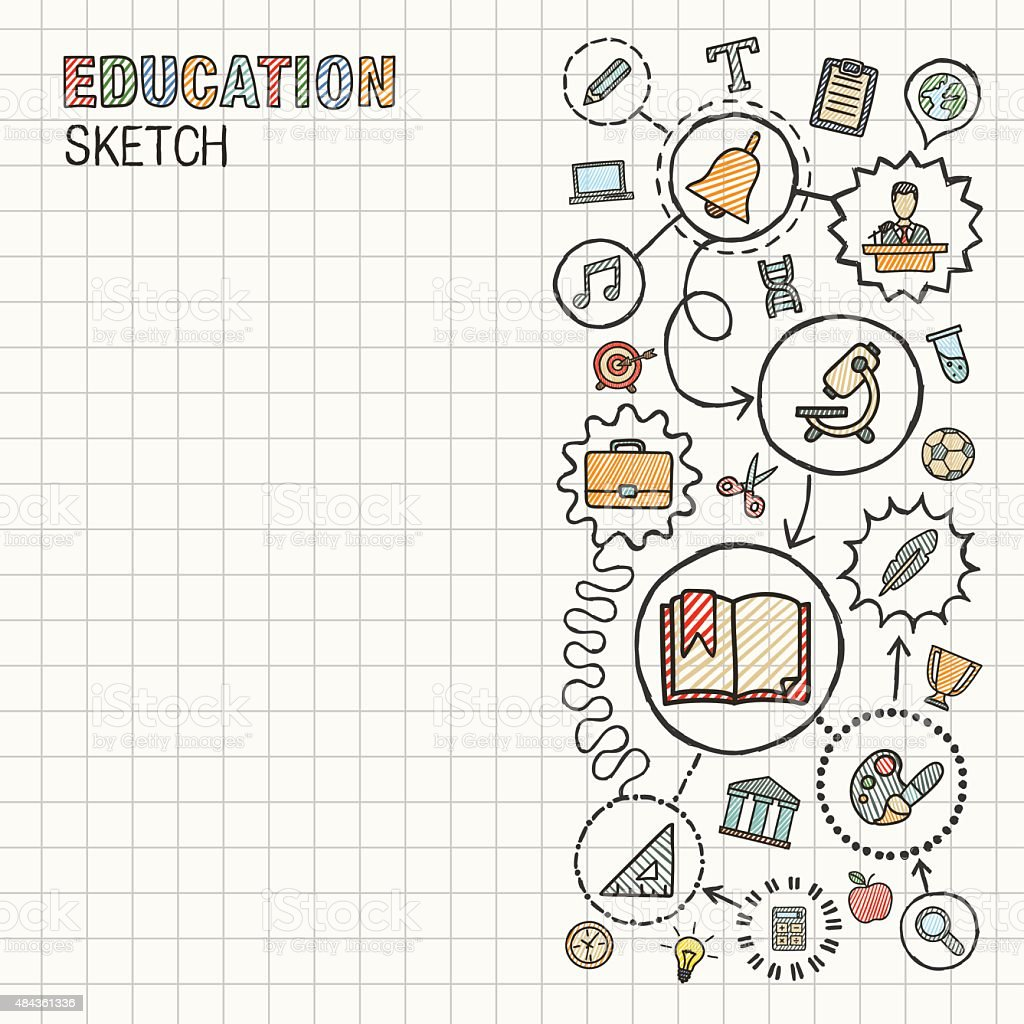Education hand draw integrated vector sketch icons set on paper. vector art illustration