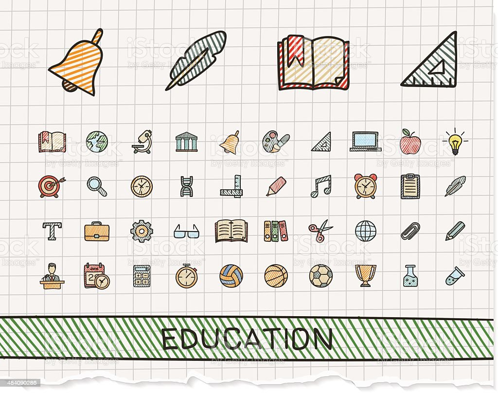 Education hand drawing line icons. Vector doodle pictogram set vector art illustration