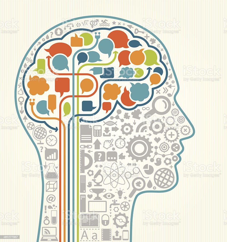 Education Head vector art illustration