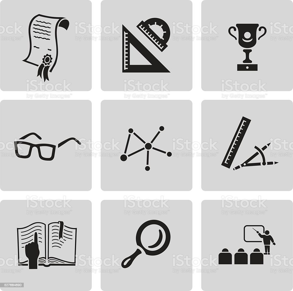 Education icon set. Black sign on gray background vector art illustration