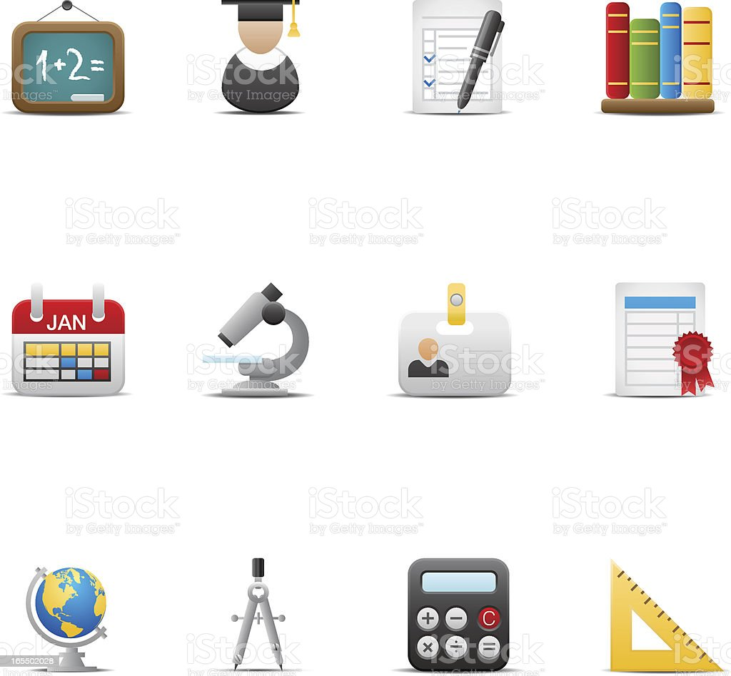 Education icon set. Soft series. royalty-free stock vector art