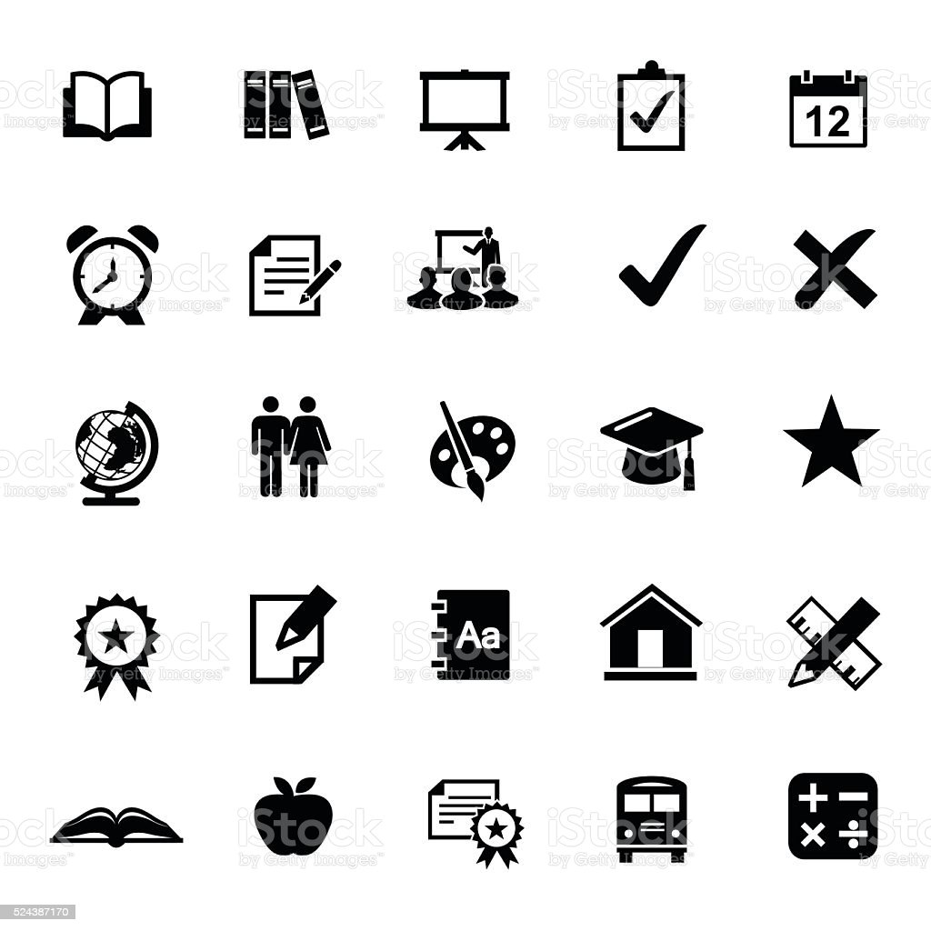 Education Icon Set vector art illustration