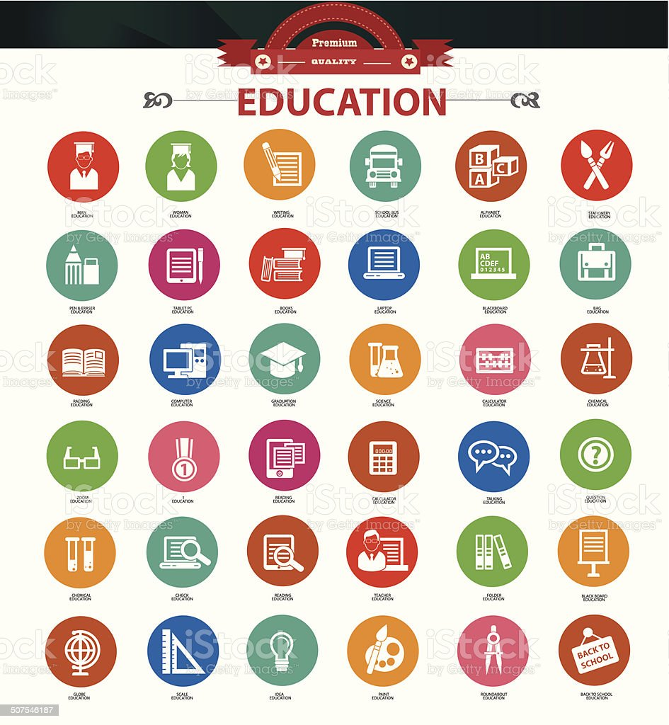 Education icon set,Colorful version,vector vector art illustration