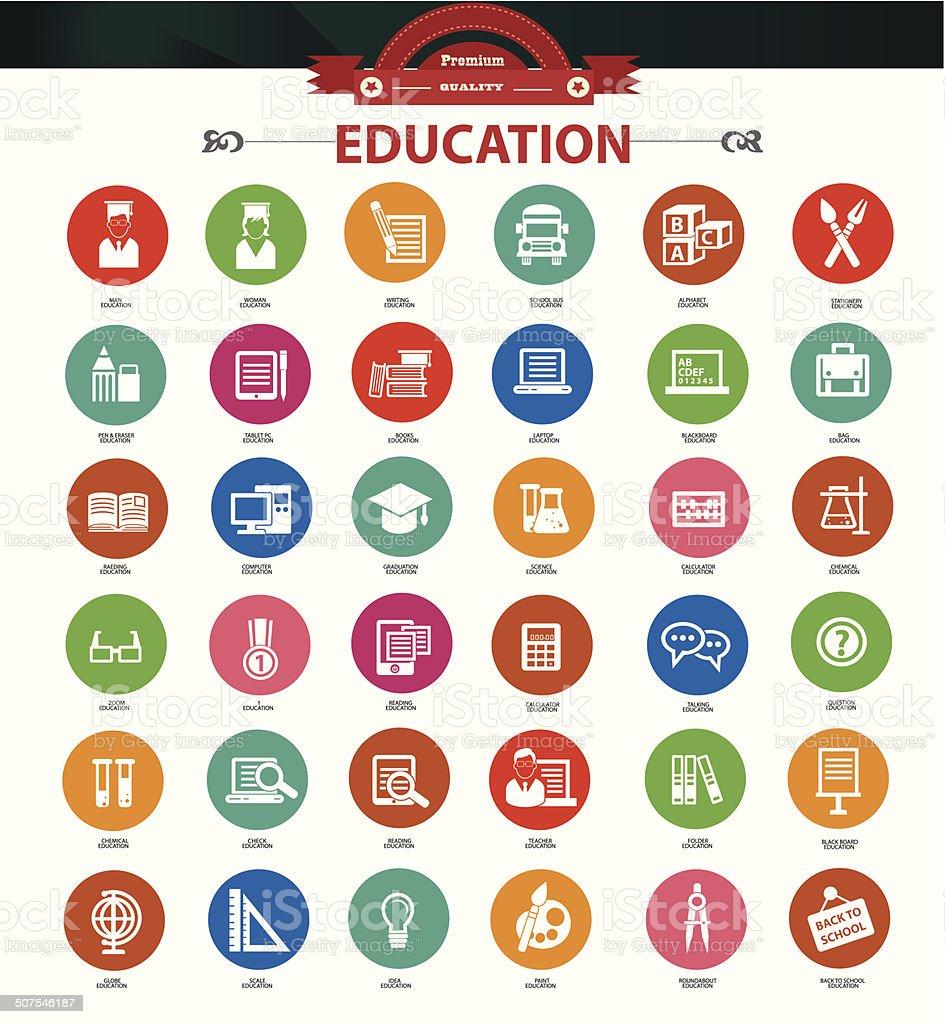 Education icon set,Colorful version,vector vector art illustration