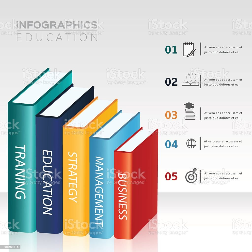 Education icons and books with infographic template. vector art illustration