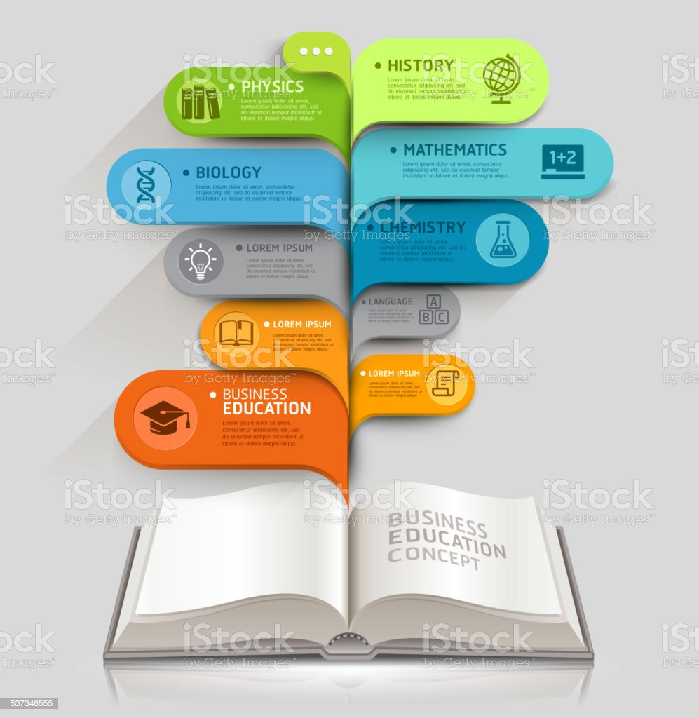 Education icons and Open books with bubble speech template. vector art illustration