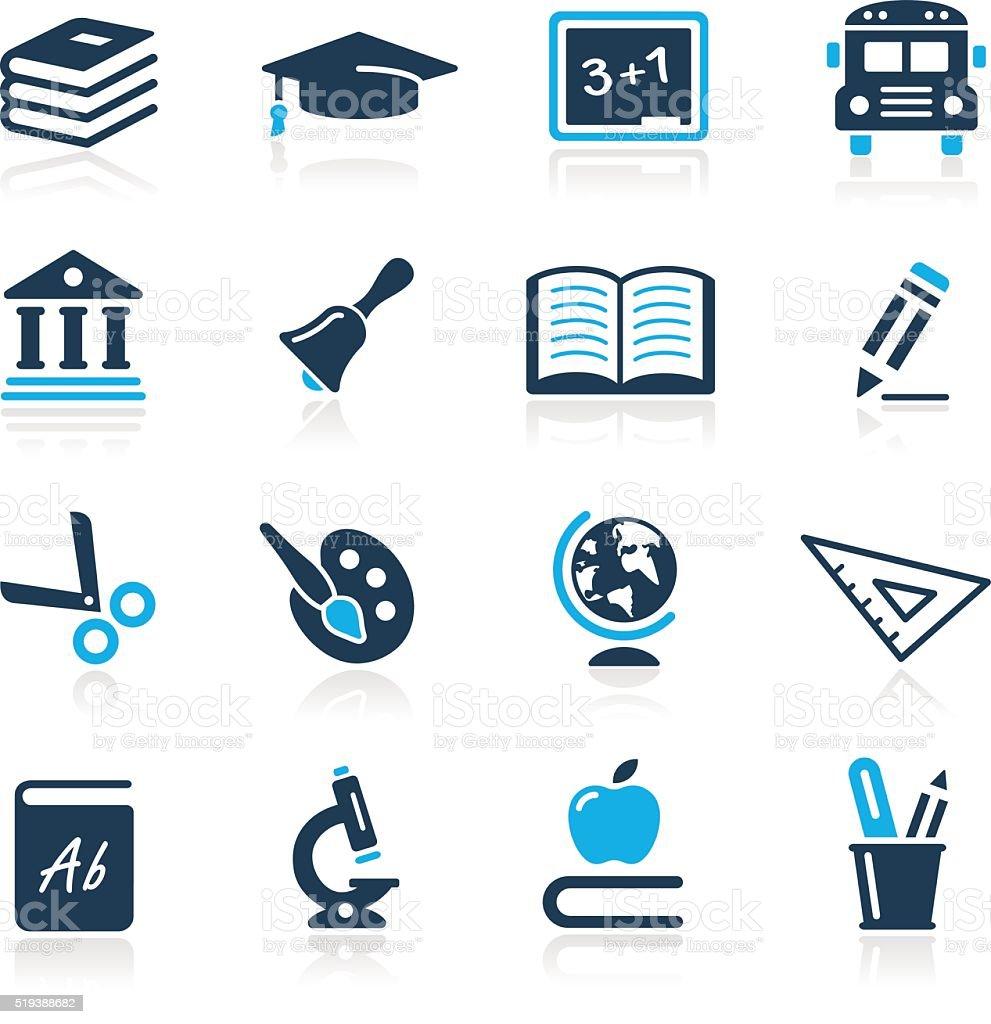 Education Icons - Azure Series vector art illustration