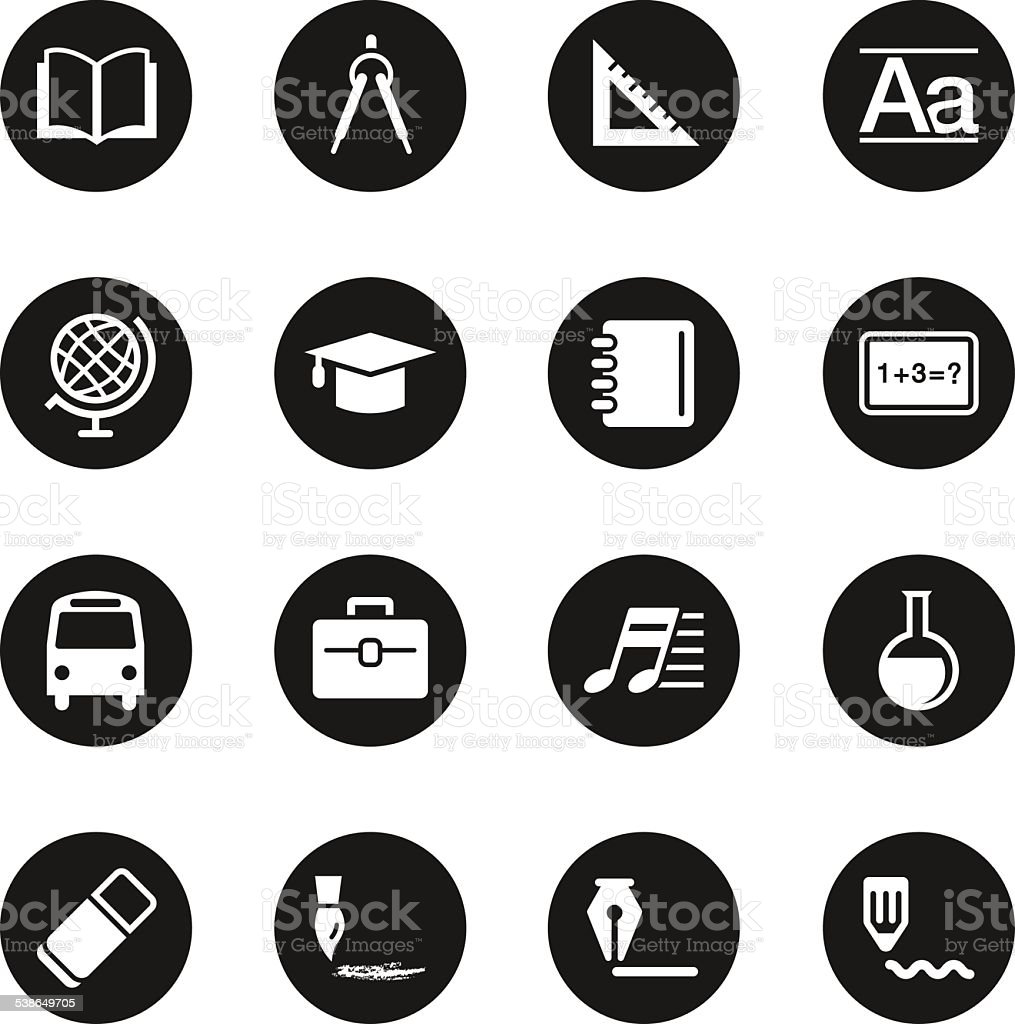 Education Icons - Black Circle Series vector art illustration