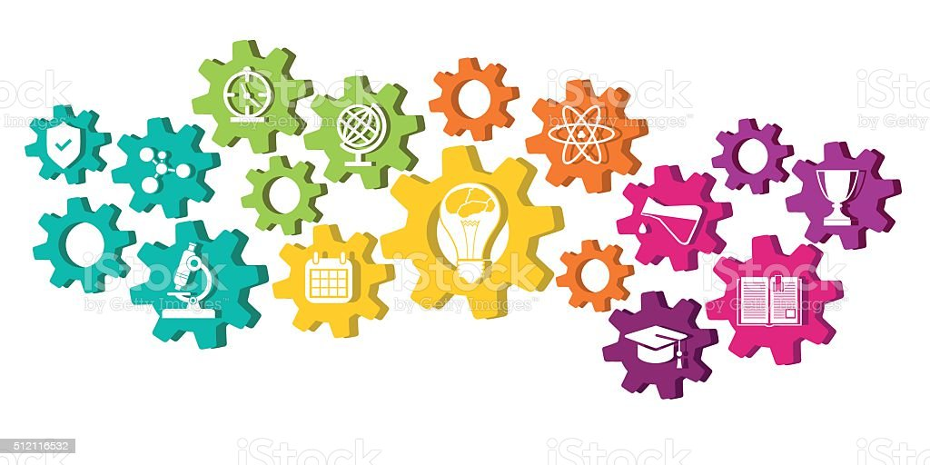 Education icons in cog wheel vector art illustration