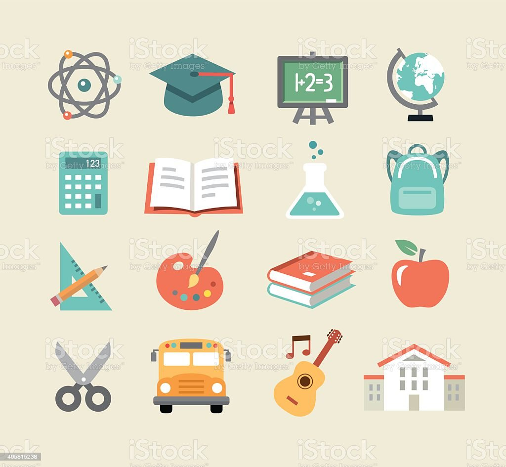 Education Icons In Flat Design Style vector art illustration