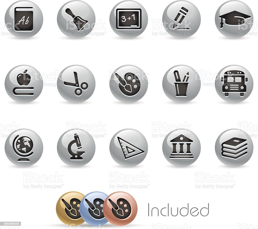 Education Icons - Metal Round Series vector art illustration
