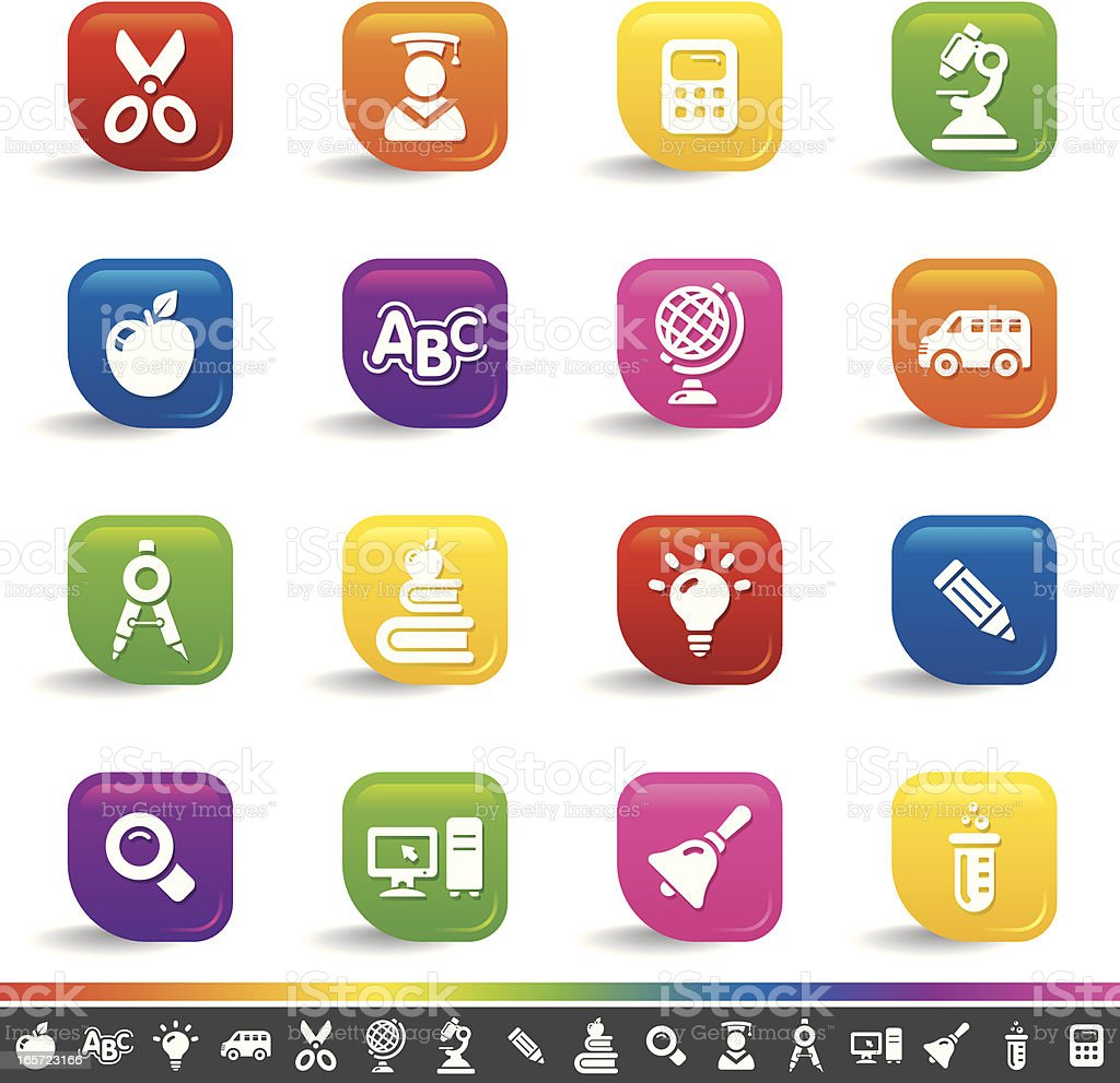Education icons | Rainbow Series royalty-free stock vector art