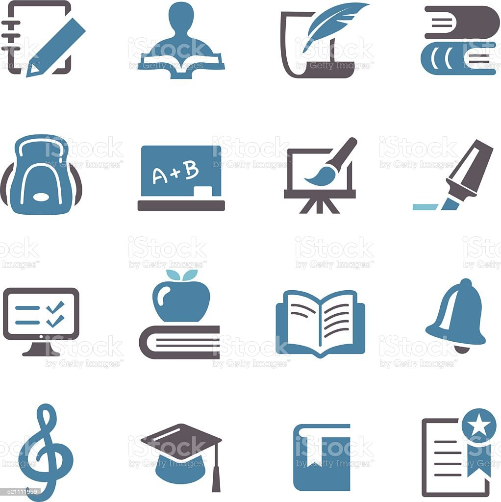Education Icons Set - Conc Series vector art illustration