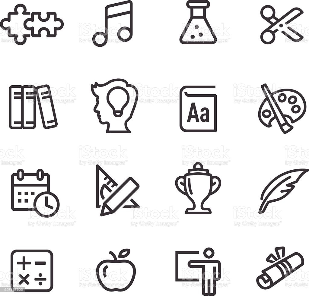 Education Icons Set - Line Series vector art illustration