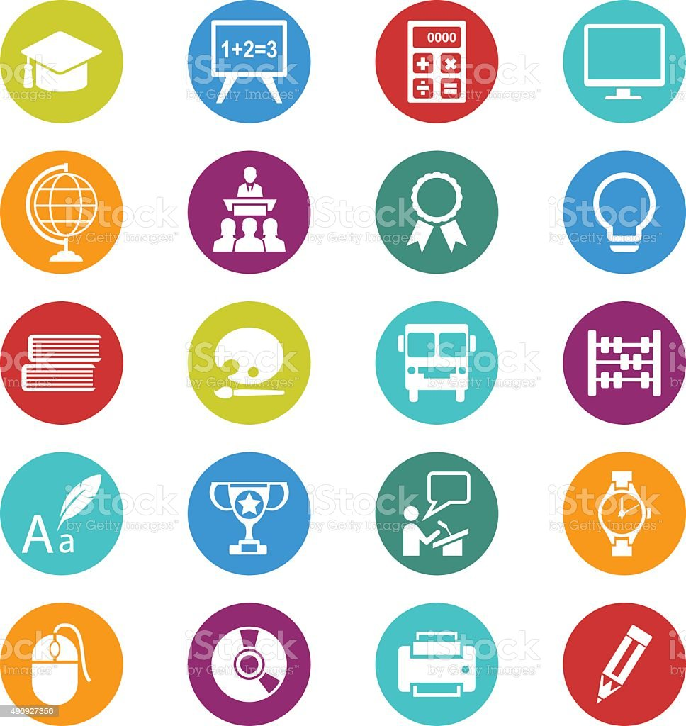 Education icons set vector art illustration