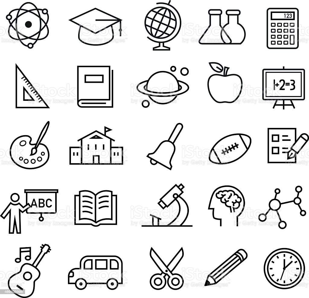 Education Icons - thin lines style vector art illustration