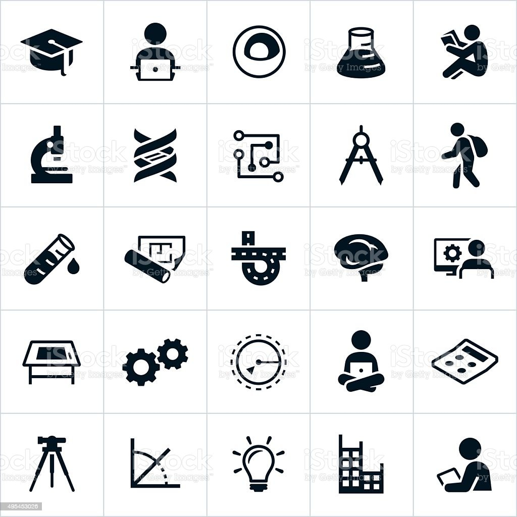 STEM Education Icons vector art illustration