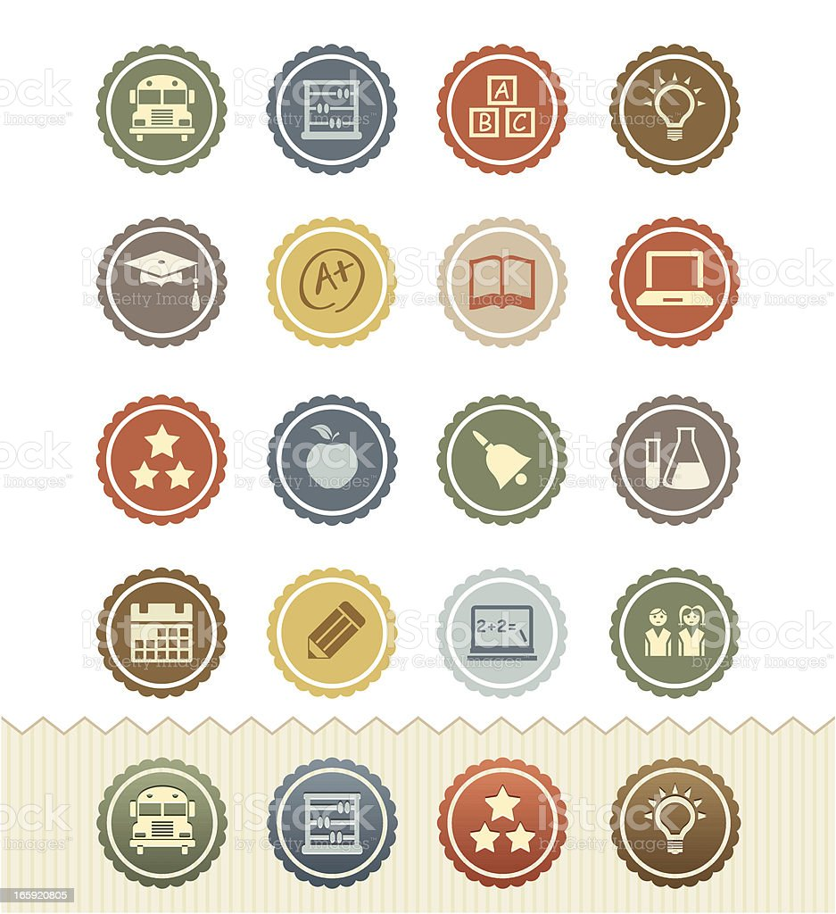 Education Icons : Vintage Badge Series vector art illustration
