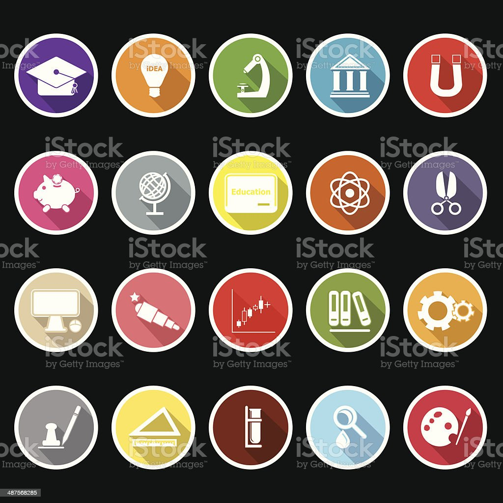 Education icons with long shadow royalty-free stock vector art