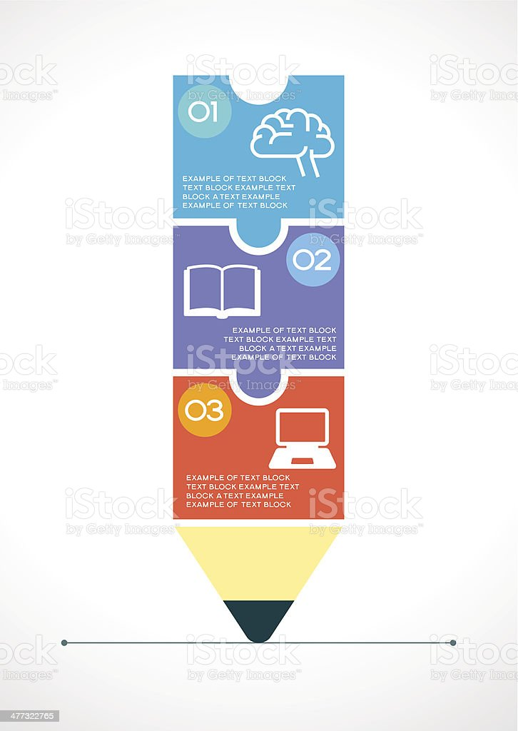 Education infographics background with abstract pencil royalty-free stock vector art