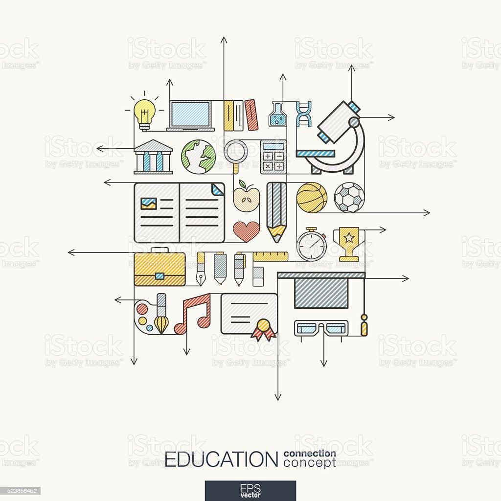 Education integrated thin line symbols. Modern color vector concept vector art illustration