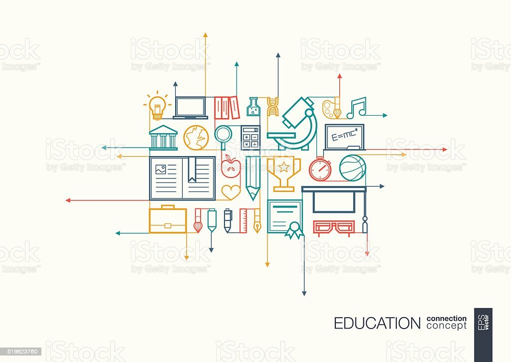Education integrated thin line symbols vector art illustration