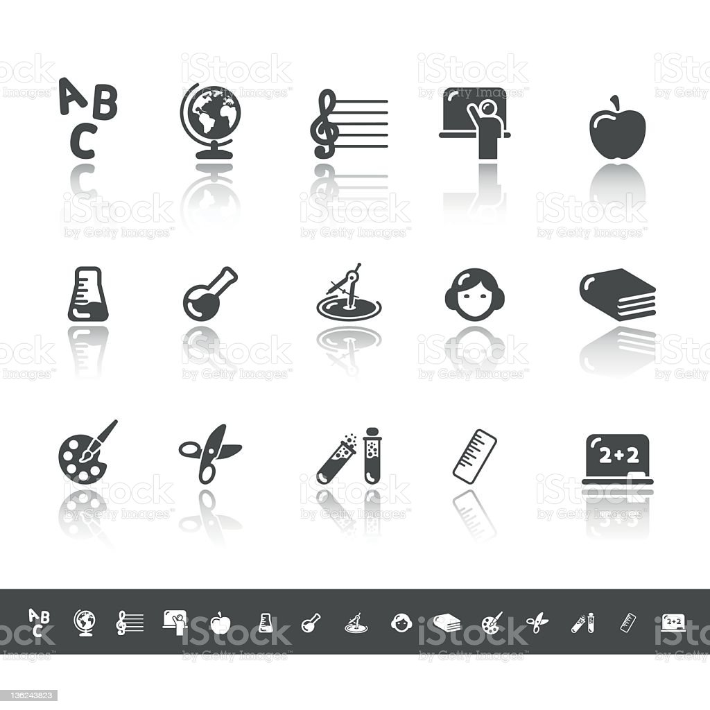 Education & Knowledge Icons | Simple Grey royalty-free stock vector art