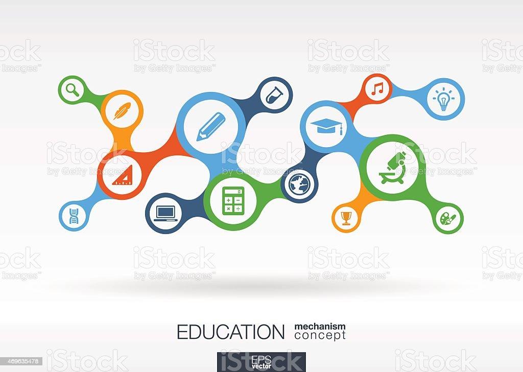 Education metaball icon set. Vector integrated analytics background illustration vector art illustration