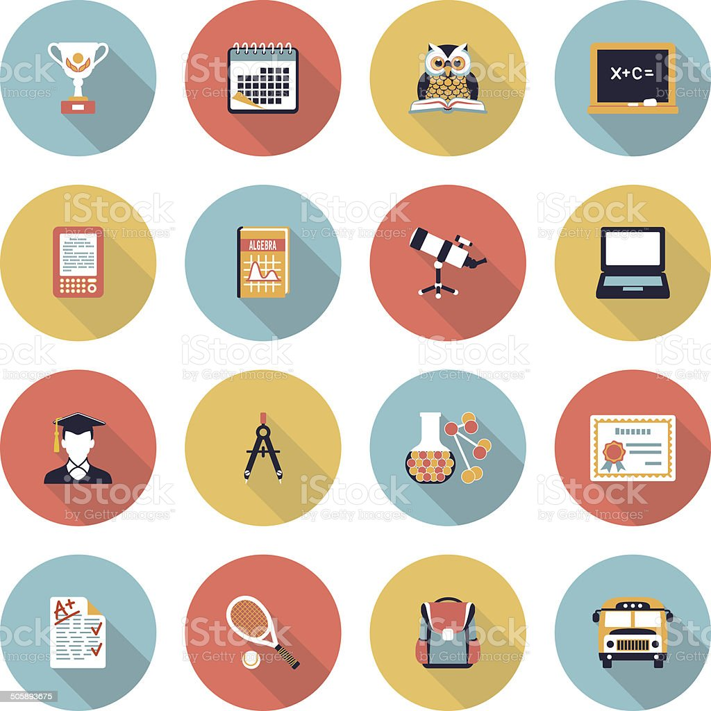 Education modern flat color icons. royalty-free stock vector art