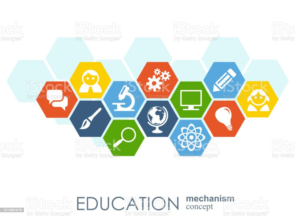 Education network. Hexagon abstract background with lines, polygons, and integrate vector art illustration