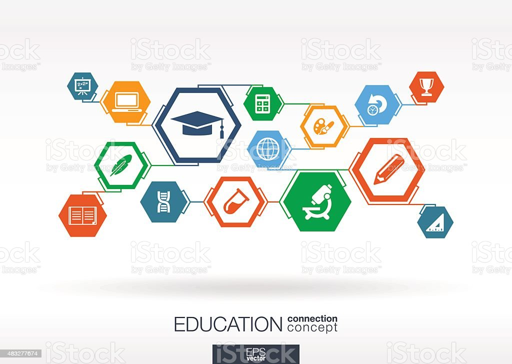 Education network. Hexagon abstract background with lines, polygons, integrate icons. vector art illustration