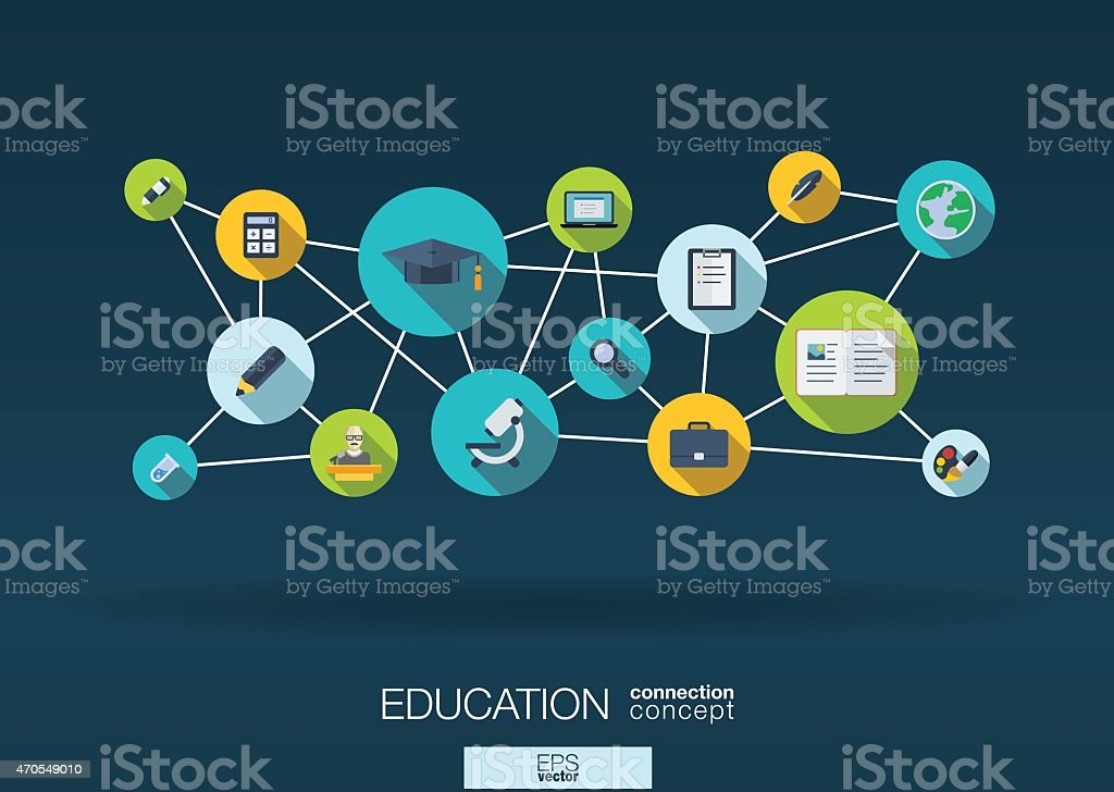 Education network vector abstract background: lines, circles, integrate flat icons vector art illustration