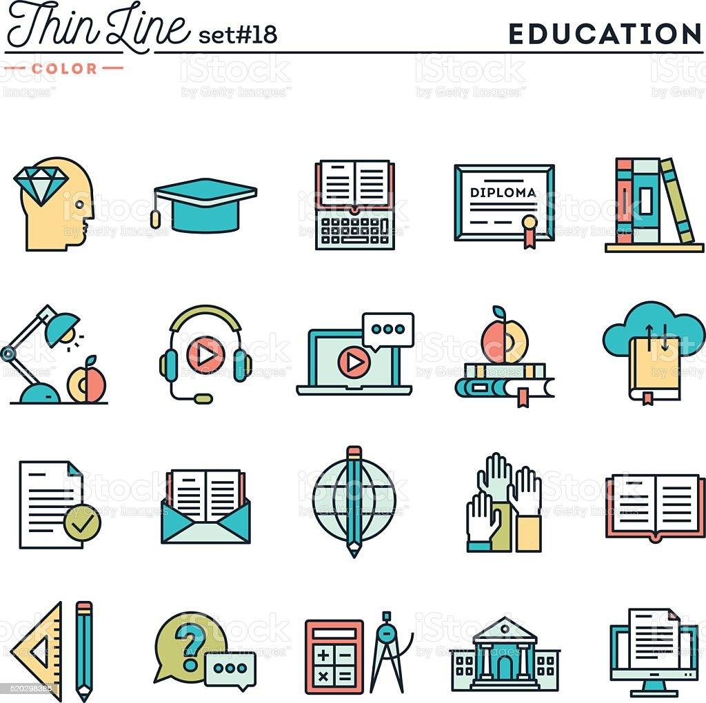 Education, online books, distance learning, webinar and more vector art illustration