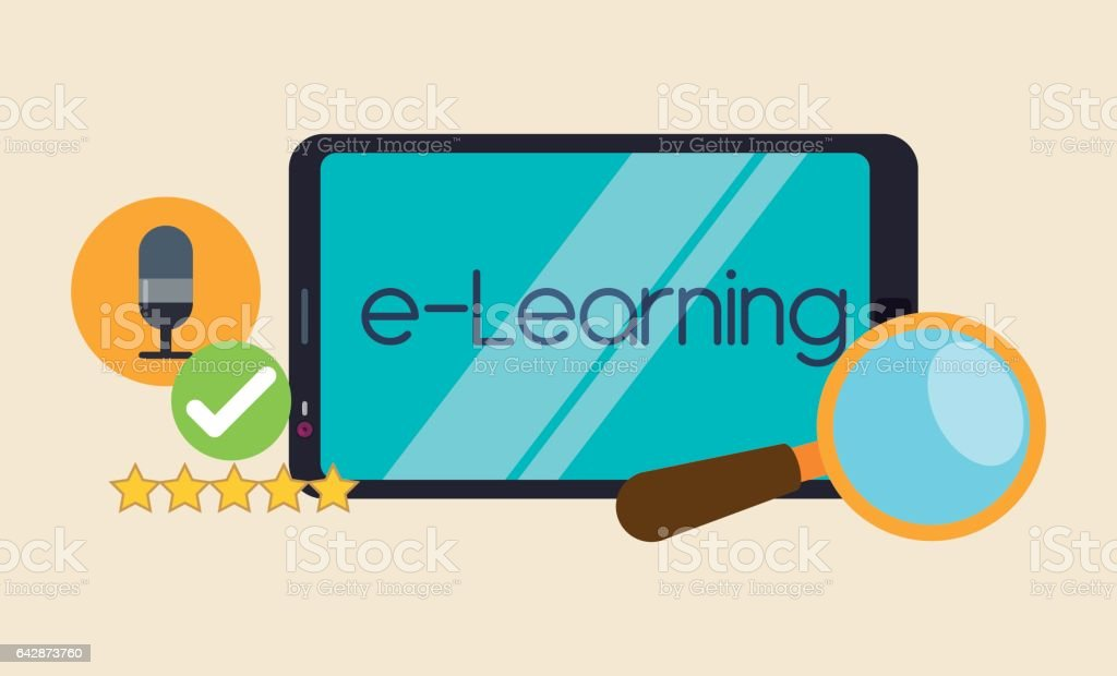 Education online or elearning vector art illustration